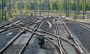 Weichenstraße und Gleisverbindungen im Bahnhof Weimar