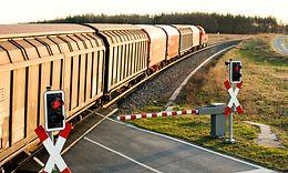 Güterzug am Bahnübergang