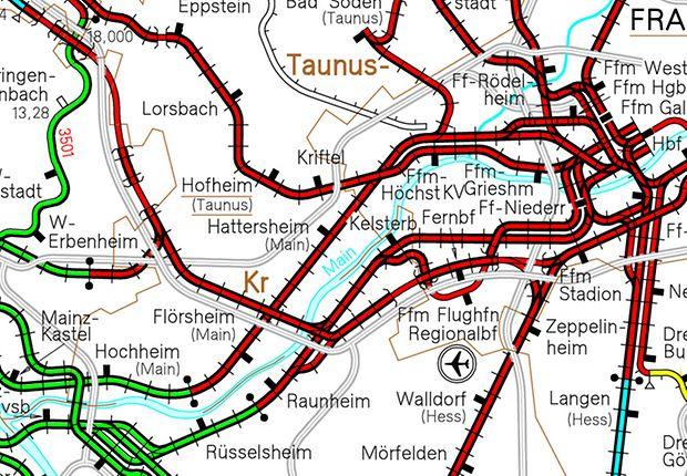 Beispiel einer Eisenbahnkarte