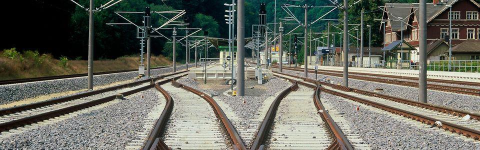 Weichenverbindung im Bahnhof Tharandt