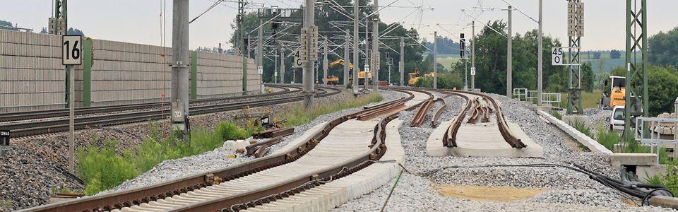 Gleisbauarbeiten im Anschwenkbereich