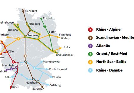 Karte der durch Deutschland verlaufenden Korridore
