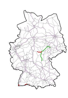 Abb. 1: Kartendarstellung der ETCS-Strecken in Betrieb bis 2018