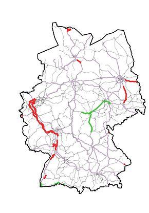 Abb. 1: Kartendarstellung der ETCS-Strecken in Betrieb bis 2020
